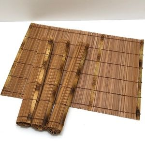 Unused Set of 4 Bamboo Placemats Asian Decor
